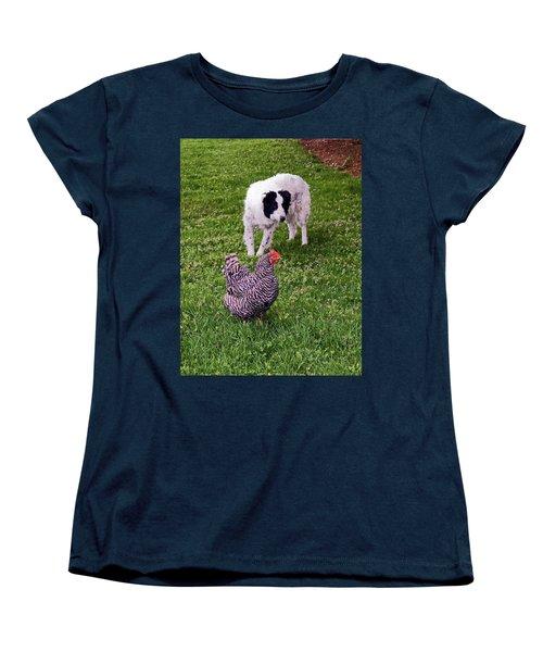 Border Collie Herding Chicken Women's T-Shirt (Standard Cut) by Sally Weigand
