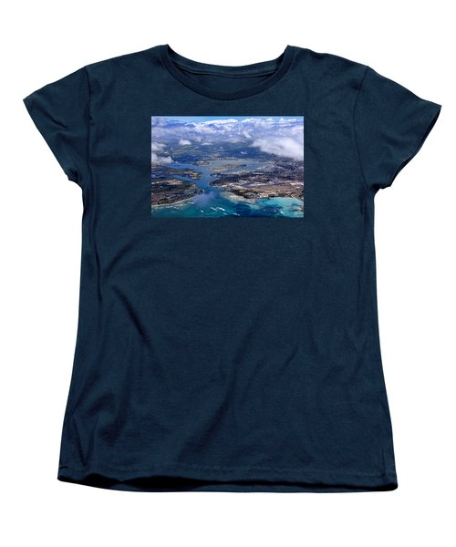 Pearl Harbor Aerial View Women's T-Shirt (Standard Cut) by Dan McManus