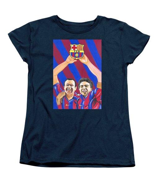 Women's T-Shirt (Standard Cut) featuring the painting Xavi And Iniesta by Emmanuel Baliyanga