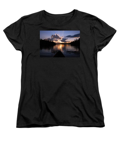 Evening Paddle On Spoon Lake Women's T-Shirt (Standard Cut) by Larry Ricker