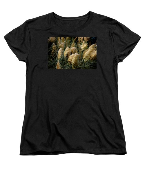 Golden Pampas In The Wind Women's T-Shirt (Standard Cut) by DigiArt Diaries by Vicky B Fuller