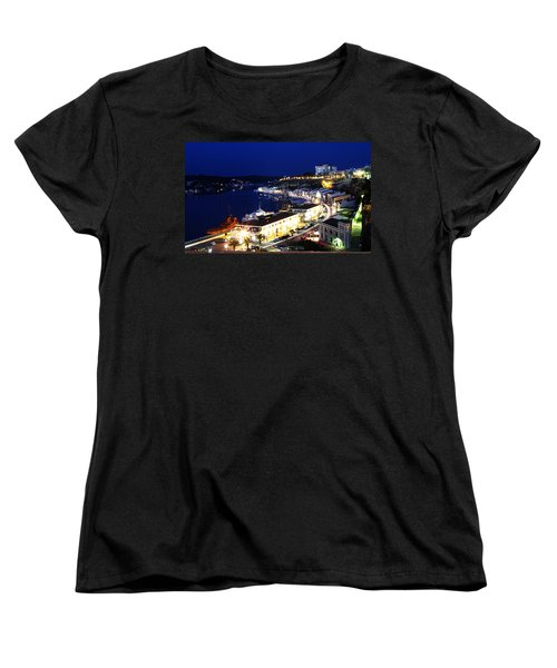 Women's T-Shirt (Standard Cut) featuring the photograph Mahon Harbour At Night by Pedro Cardona