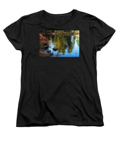 Morning Reflections On Chad Lake Women's T-Shirt (Standard Cut) by Larry Ricker