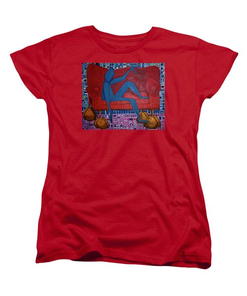 Women's T-Shirt (Standard Cut) featuring the painting Am I Blue by Donna Howard