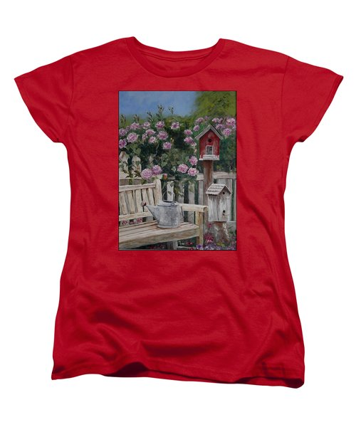 Women's T-Shirt (Standard Cut) featuring the painting Take A Seat by Mary-Lee Sanders