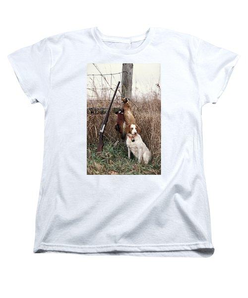 Brittany And Pheasants - Fs000757b Women's T-Shirt (Standard Cut) by Daniel Dempster