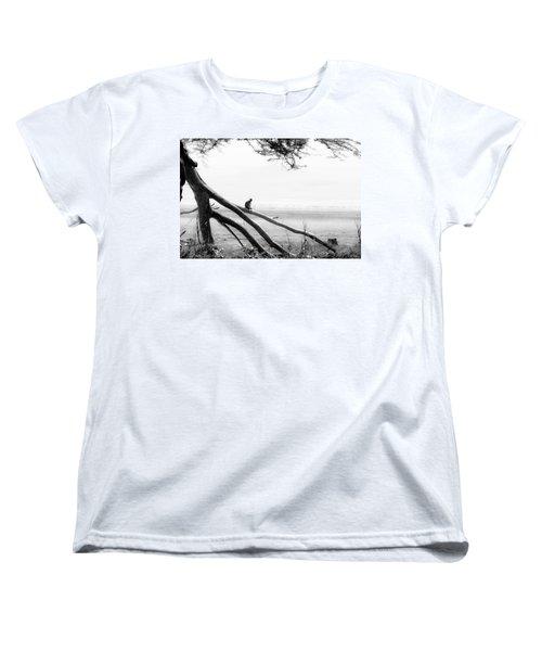 Monkey Alone On A Branch Women's T-Shirt (Standard Cut) by Darcy Michaelchuk