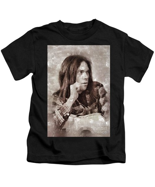 Neil Young By Mary Bassett Kids T-Shirt