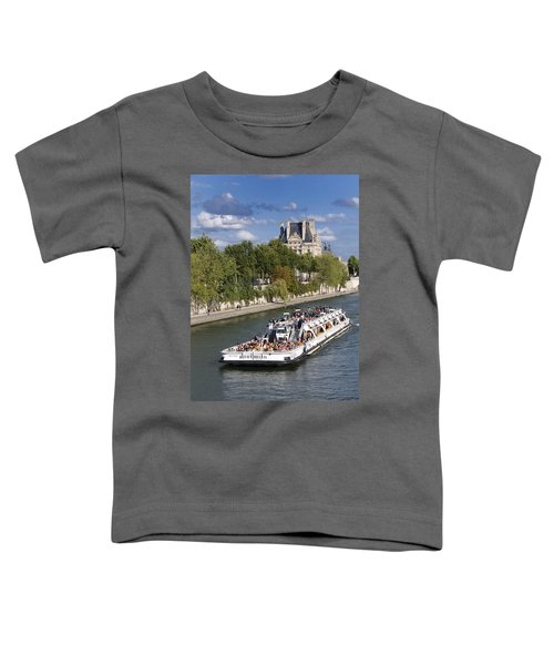 Sightseeing Boat On River Seine To Louvre Museum. Paris Toddler T-Shirt