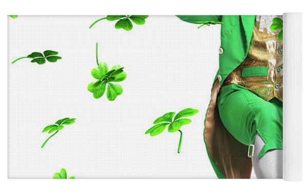 Leprechaun Tossing Shamrock Leaves Up In The Air Yoga Mat by Maxim Images Prints