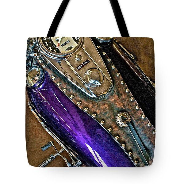 1953 Purple Harley Panhead Tote Bag by Linda Bianic