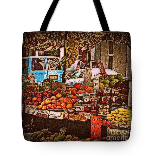Blue Van Tote Bag by Miriam Danar