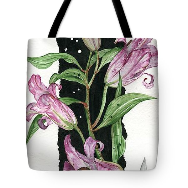 Tote Bag featuring the painting Flower Lily 01 Elena Yakubovich by Elena Yakubovich