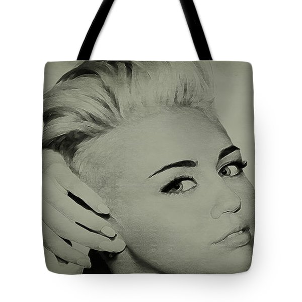 Tote Bag featuring the drawing Miley Cyrus  by Brian Reaves
