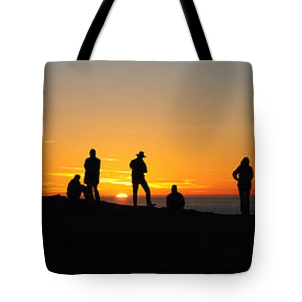Tote Bag featuring the photograph Panorama Everyone Likes A Sunset by Vivian Christopher