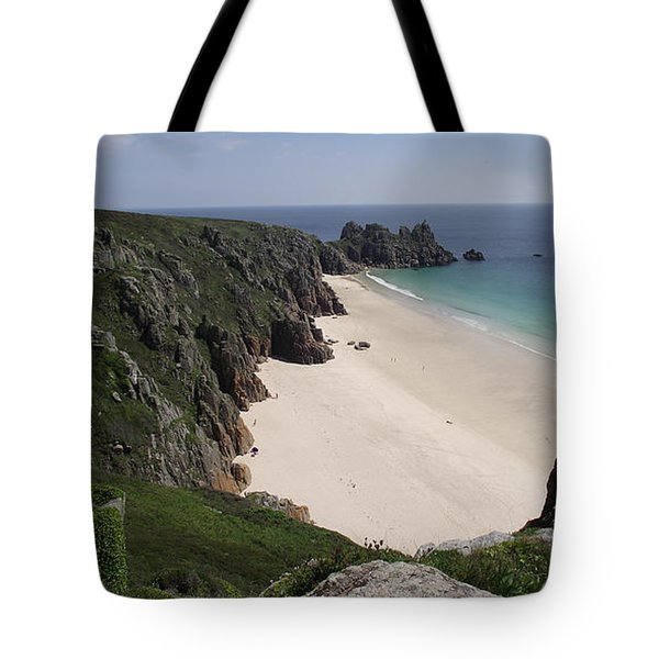 Tote Bag featuring the photograph Porthcurno Cove by Jayne Wilson