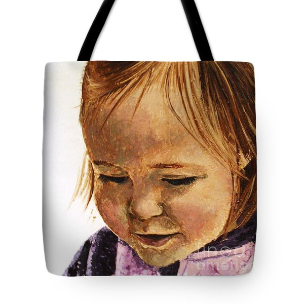 Portrait Of A Girl Tote Bag by Tatjana Popovska