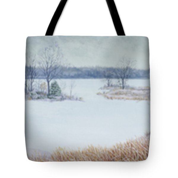 Winter Lake And Cedars Tote Bag
