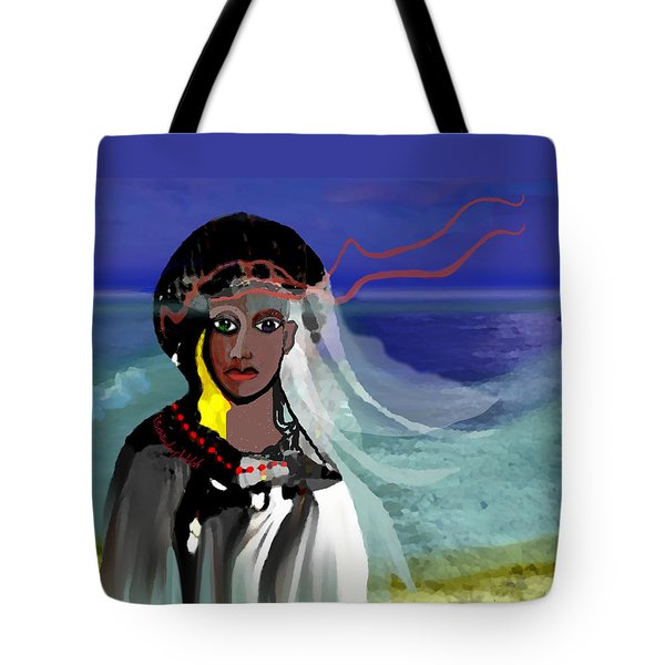 Tote Bag featuring the digital art 1965 - Walk On The Oceanside by Irmgard Schoendorf Welch