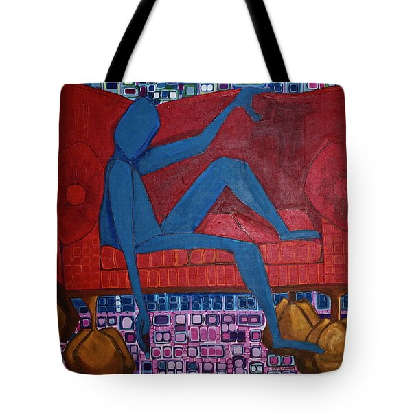 Tote Bag featuring the painting Am I Blue by Donna Howard