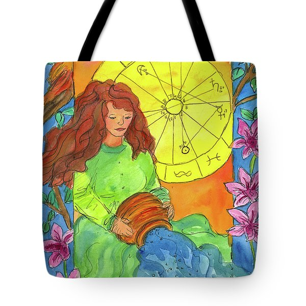 Tote Bag featuring the painting Aquarius by Cathie Richardson