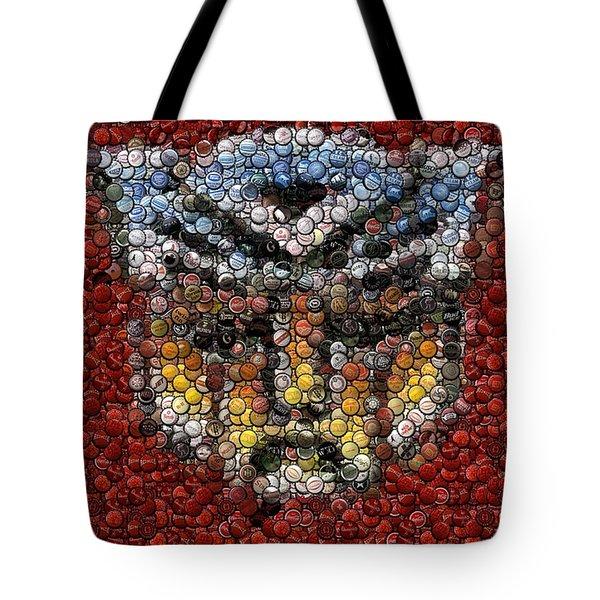 Autobot Transformer Bottle Cap Mosaic Tote Bag by Paul Van Scott