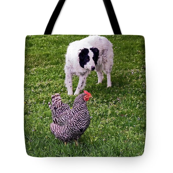 Border Collie Herding Chicken Tote Bag by Sally Weigand