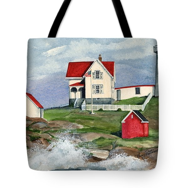 Cape Neddic Lighthouse  Tote Bag by Nancy Patterson