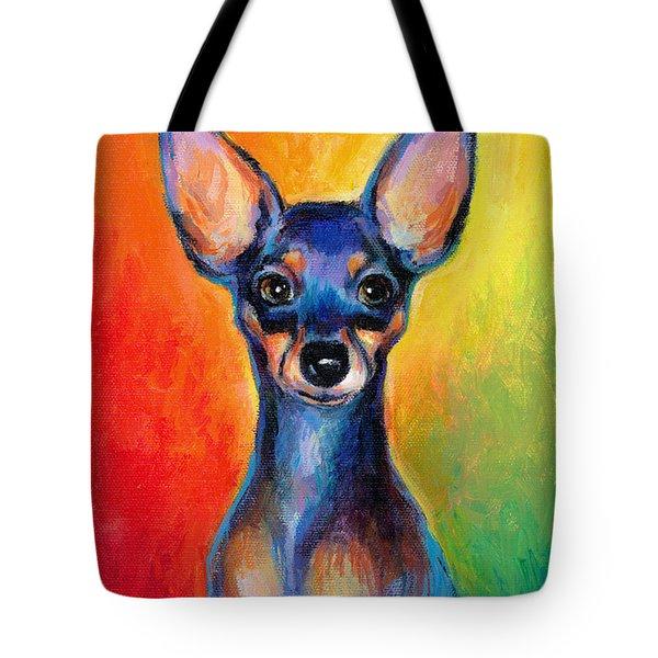 Contemporary Colorful Chihuahua Chiuaua Painting Tote Bag by Svetlana Novikova