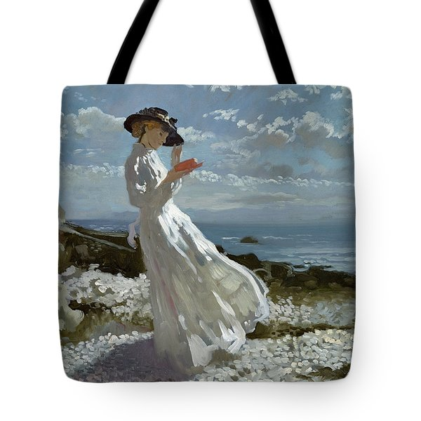 Grace Reading At Howth Bay Tote Bag by Sir William Orpen