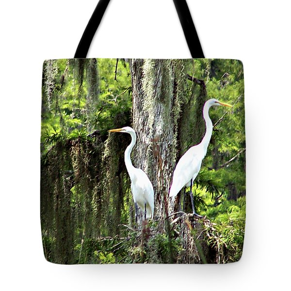 Great White Egrets Tote Bag