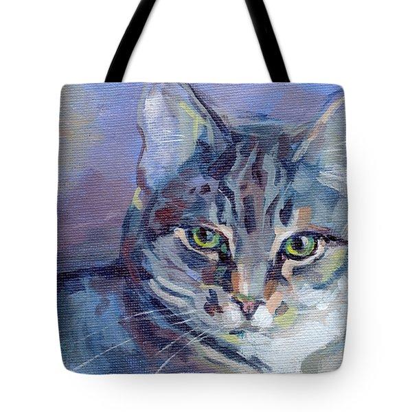 Green Eyed Tabby - Thomasina Tote Bag by Kimberly Santini