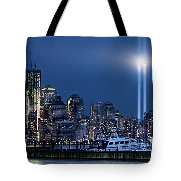 Ground Zero Tribute Lights And The Freedom Tower Tote Bag by Chris Lord