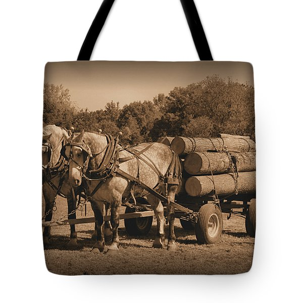 Hardworking Horses Tote Bag by Kristin Elmquist