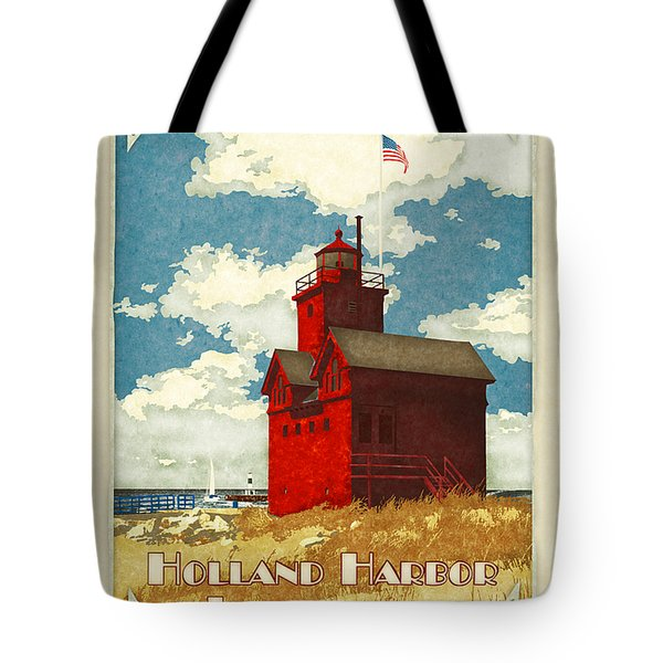 Holland Harbor Lighthouse Tote Bag by Antoinette Houtman