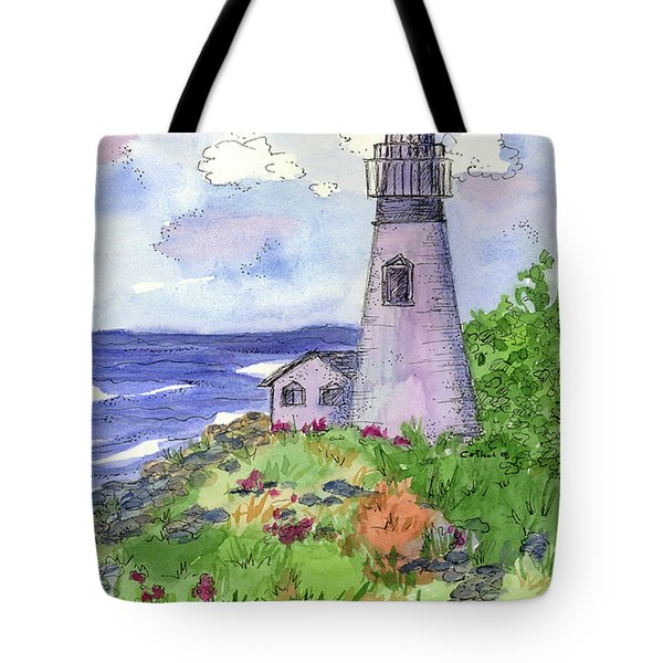 Tote Bag featuring the painting Lighthouse In Summer  by Cathie Richardson