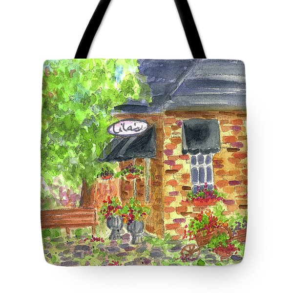 Tote Bag featuring the painting Lila's Cafe by Cathie Richardson