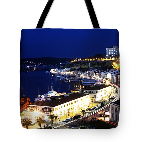 Tote Bag featuring the photograph Mahon Harbour At Night by Pedro Cardona