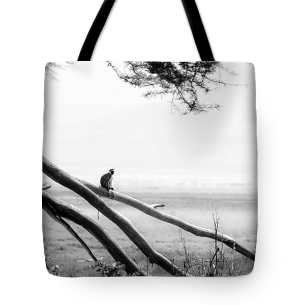 Monkey Alone On A Branch Tote Bag by Darcy Michaelchuk