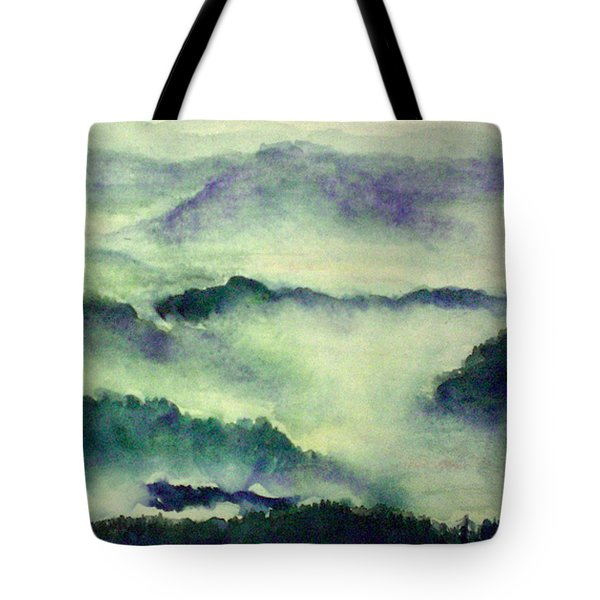 Tote Bag featuring the painting Mountain Oriental Style by Yoshiko Mishina