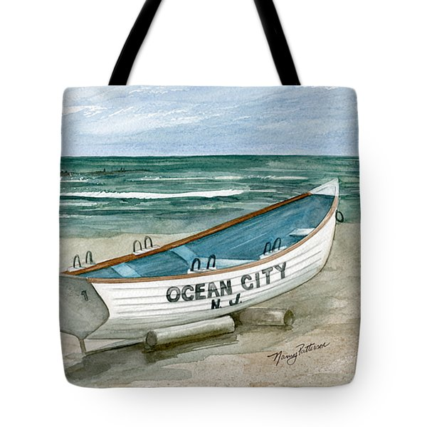 Ocean City Lifeguard Boat Tote Bag by Nancy Patterson