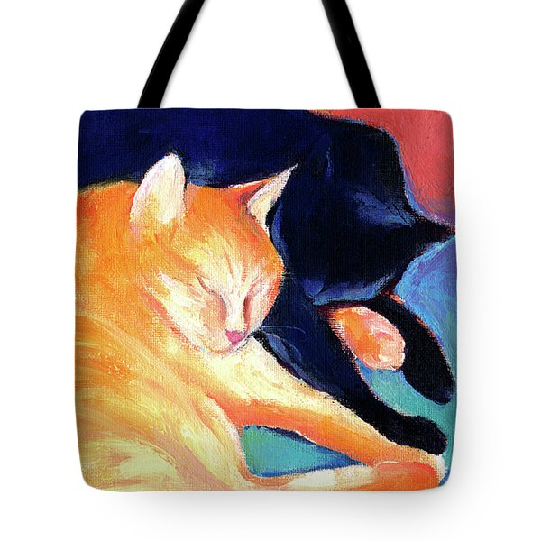 Orange And Black Tabby Cats Sleeping Tote Bag