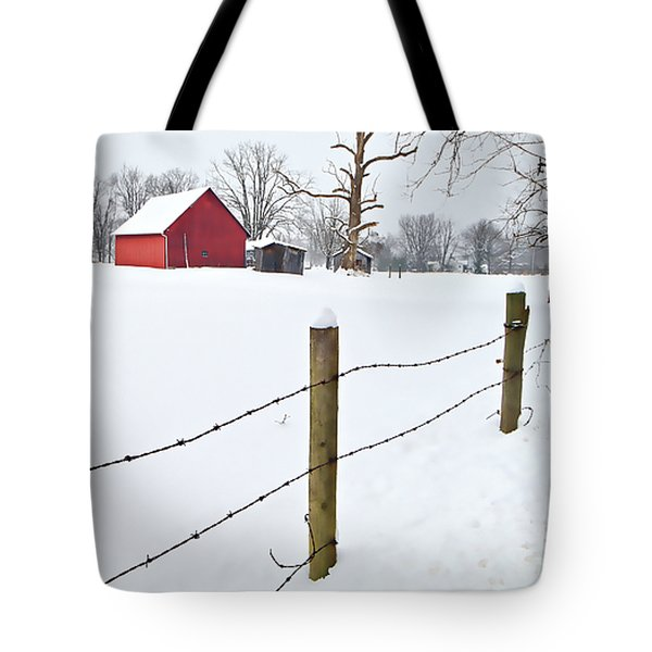 Red Barn And Fresh Snow - D006392a Tote Bag by Daniel Dempster