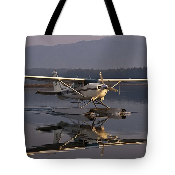 Reflections Of A Float Plane Tote Bag by Darcy Michaelchuk