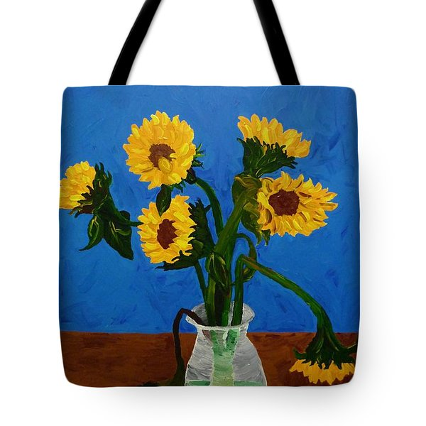 Tote Bag featuring the painting Seven Sunflowers In Vase by Joshua Redman