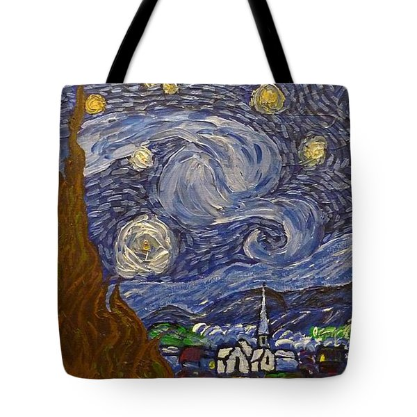 Tote Bag featuring the painting Starry Night - An Ode To Vincent by Joshua Redman