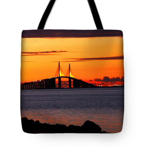Sunset Over The Skyway Bridge Tote Bag