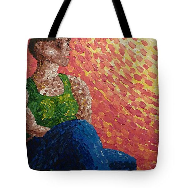 Tote Bag featuring the painting The Sun On Her Face by Joshua Redman