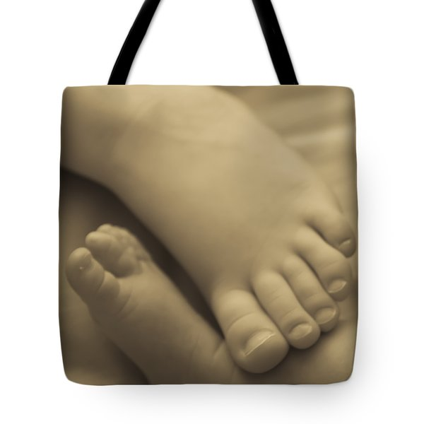 Toes Of Different Size Tote Bag by Darcy Michaelchuk