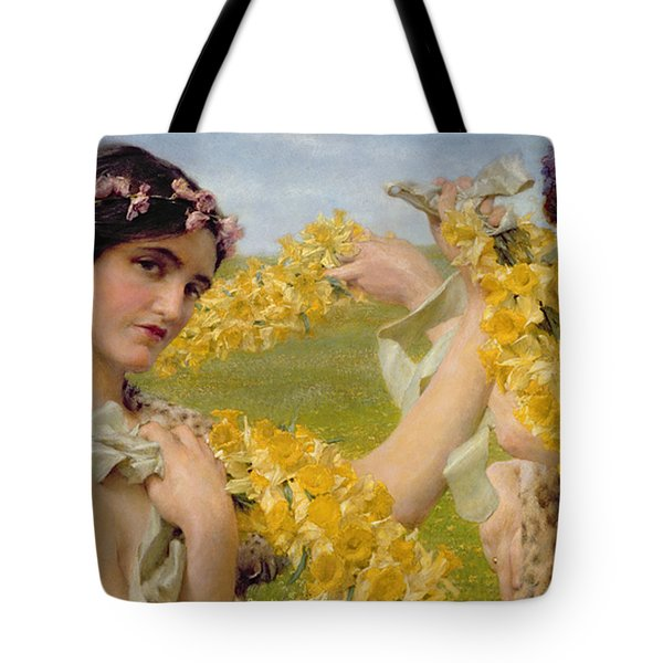 When Flowers Return Tote Bag by Sir Lawrence Alma-Tadema